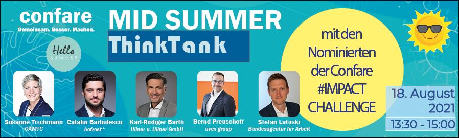 Banner Mid Summer ThinkTank - Digitale Innovation, Nachhaltigkeit, Leadership - So bewegen Top-CIOs Unternehmen und ganze Branchen