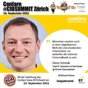 CIOSUMMIT Zürich Swiss CIOAward Nominee Remo Schmidli ZKB